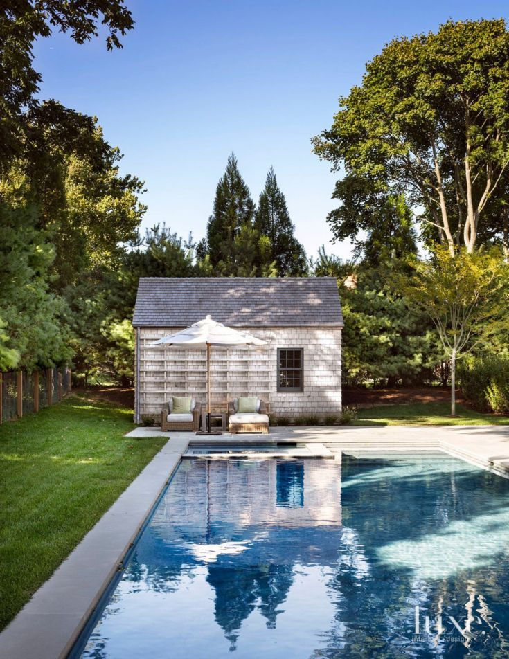 Traditional Neutral Pool House with Cedar Shingles | green