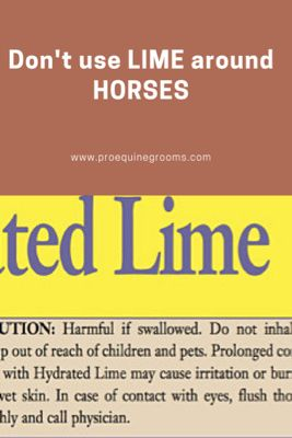 Pro Equine Grooms - There's No Good Reason To Use Lime Around Horses