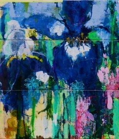 Private Gardens Series 2012 -  #4 Irises by Caroline Havers- Today Is A Good Day, 120x140 cm, 46.2x55 in, mixed media on three panels
