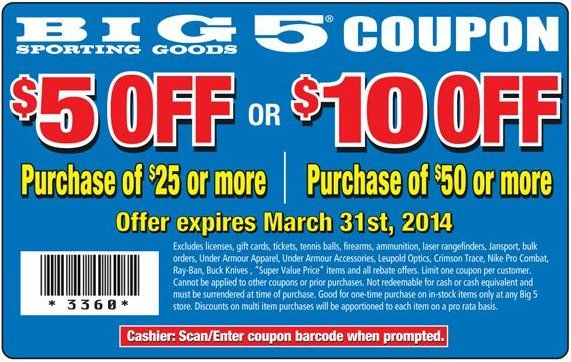 Check out offers from Big 5 Sporting Goods using GeoQpons app on your phone. Visit www.geoqpons.com