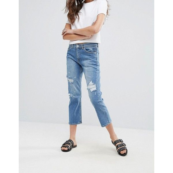 Cheap Monday Level Destroyed Boyfriend Jeans (60 AUD) ❤ liked on Polyvore featuring jeans, blue, light wash boyfriend jeans, ripped skinny jeans, light wash ripped skinny jeans, high waisted ripped jeans and high waisted ripped skinny jeans