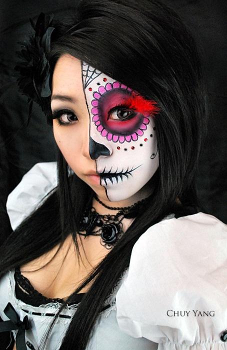 sugar skullCostumes Parties, Halloween Makeup, Sugar Skull, Of The, Dead, Day, Half Sugar, Face Painting, Halloween Ideas