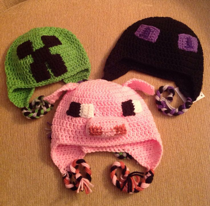 Crochet Creeper, Enderman, Pig,, minecraft