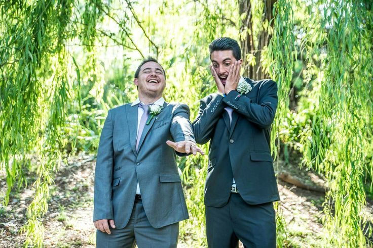Funny photo of groom and groomsman! This one always makes me laugh!