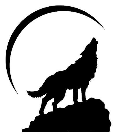 how to draw a simple howling wolf silhouette