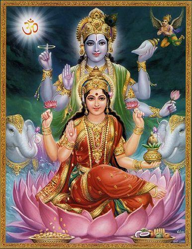 Lord Vishnu (at the top) and Goddess Lakshmi