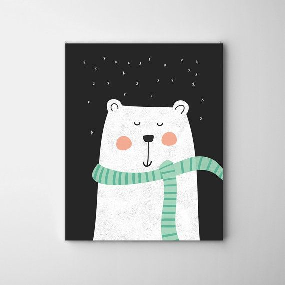 NEW! nursery bear illustration, black and white ,nursery decor, baby art, nursery wall art ,baby boys, baby girls, nursery decor
