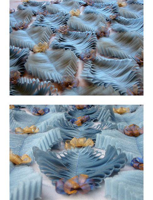 Fabric Manipulation - silk organdy waves; 3D texture  pattern, creative textiles surface creation