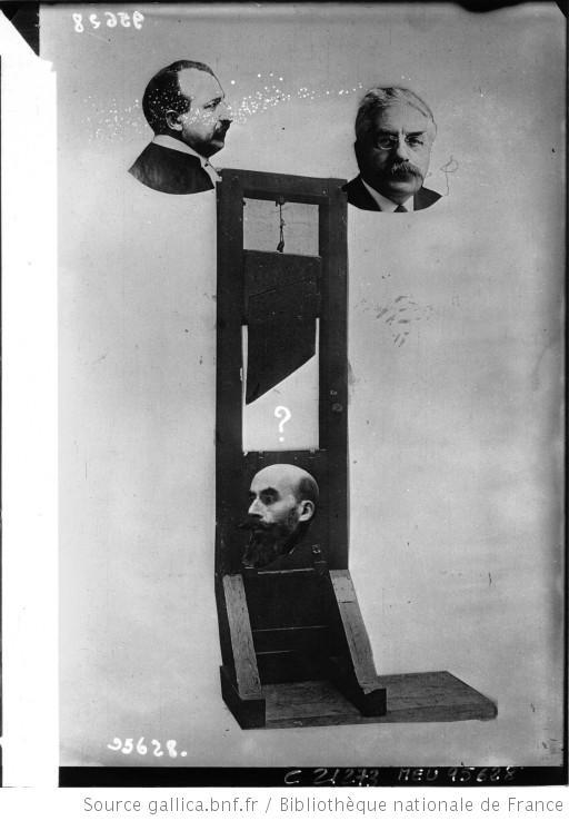 Composition représentant : Henri Désiré Landru sous la guillotine, en haut Vincent de Moro-Giafferi et Alexandre Millerand : [photographie de presse] / Agence Meurisse