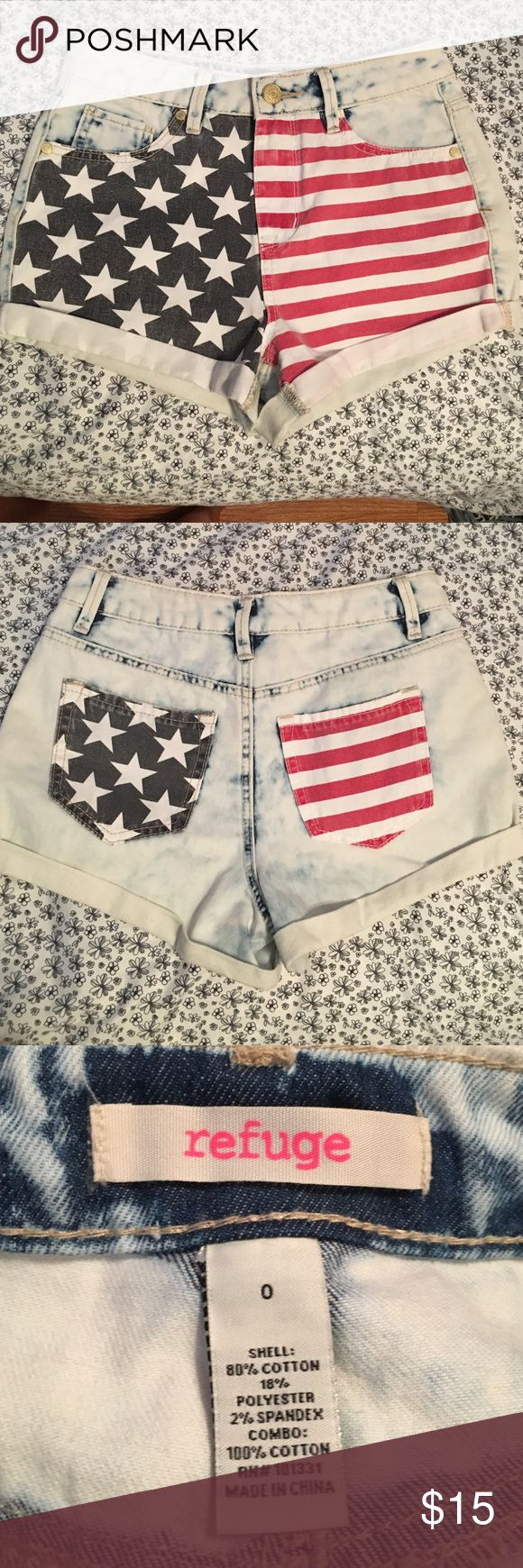 American high wasted acid washed shorts Very festive American shorts bought at Charlotte Rousse, size 0. Wore once love them but they don't fit anymore. Great condition! NOT really American eagle, they are refuge. American Eagle Outfitters Shorts Jean Shorts