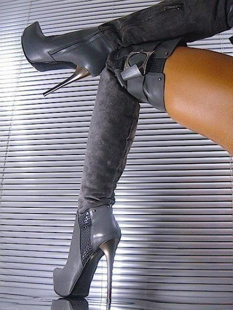 Sexy gray knee boots by Tracey Curtis