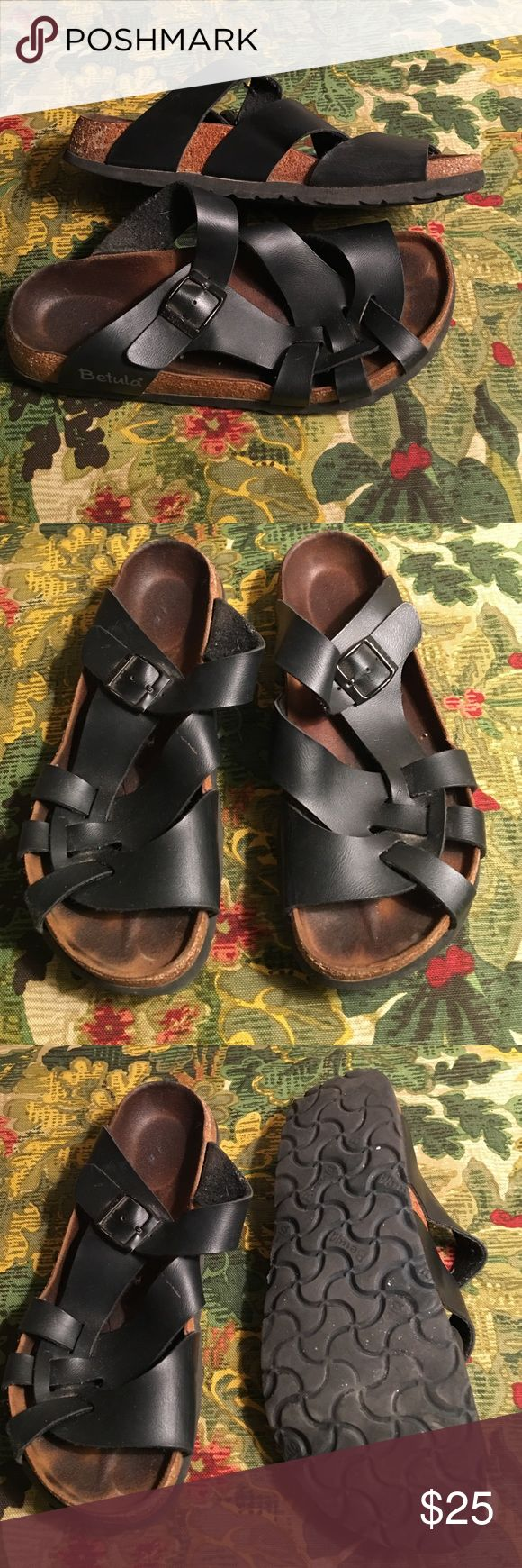 BIRKENSTOCK NARROW BETULA SANDALS 39 LADIES 8 PREOWNED GENTLY WORN BIRKENSTOCK BETULA BLACK STRAPPY SANDALS 39 LADIES 8 Birkenstock Shoes Sandals