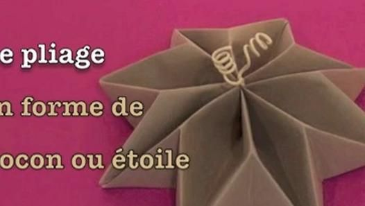 Pliage de serviette en forme de flocon toile d co de table pinterest - Pliage de serviette original ...