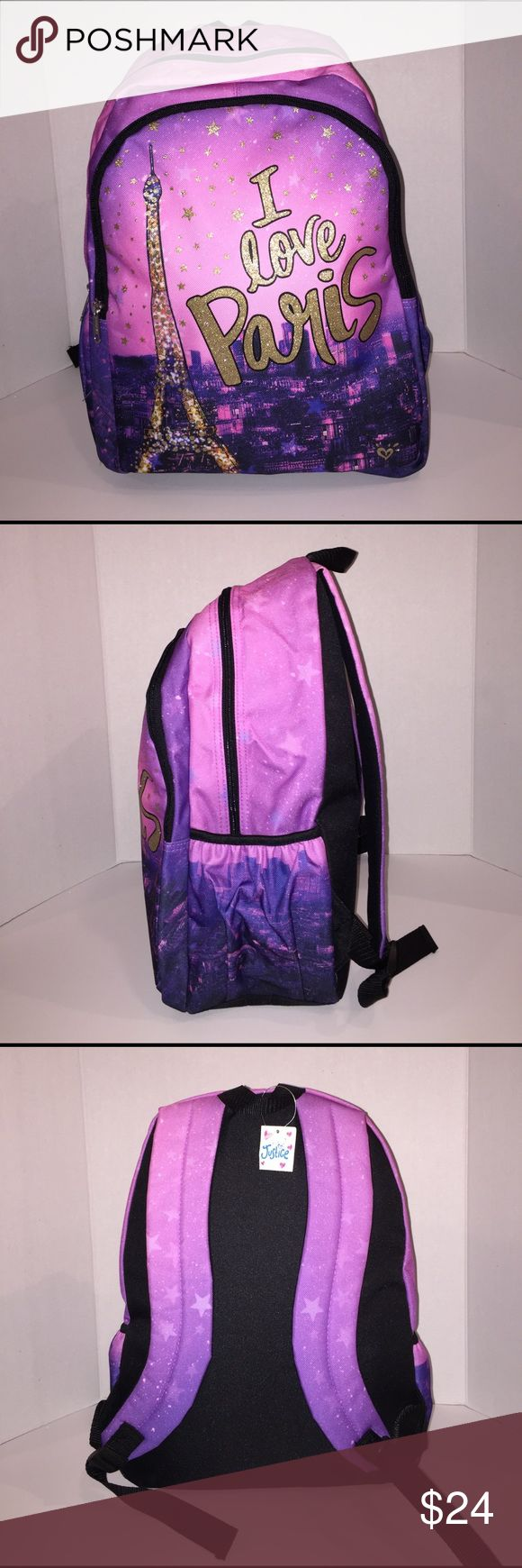 "Brand-new girls Justice backpack Brand-new with tags. I love Paris backpack. Two large main zippered compartments. Side pockets for drinks. Color pink/purple/gold. Measures approximately 16.5"" x 13"". Justice Accessories Bags"