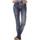 Footless Distressed Ripped Denim Look Stretch Leggings - (Choose Black or Blue ) (Apparel)By Sakas Leggings
