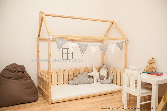 Montessori crib size floor bed is an amazing for baby room interior where children can sleep and play. It is unique gift. This adorable bed-house will make transitioning from crib to a bed smoothly. Bed is designed following Montessori principles of independence – building, it saves you a lot of space in baby's room and you do not have to fear that your baby might roll out of the bed. Order includes bed frame, but does not include accessories in pictures and mattress.  MATERIAL: Bed is…