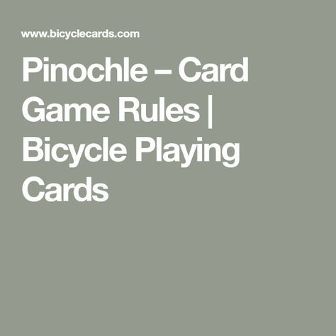 Pinochle – Card Game Rules | Bicycle Playing Cards