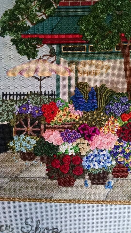 Beautiful needlepoint flower shop, designer unknown