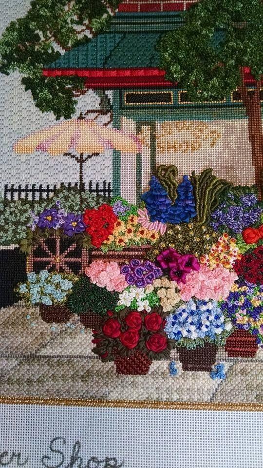 Beautiful needlepoint flower shop, designer unknown