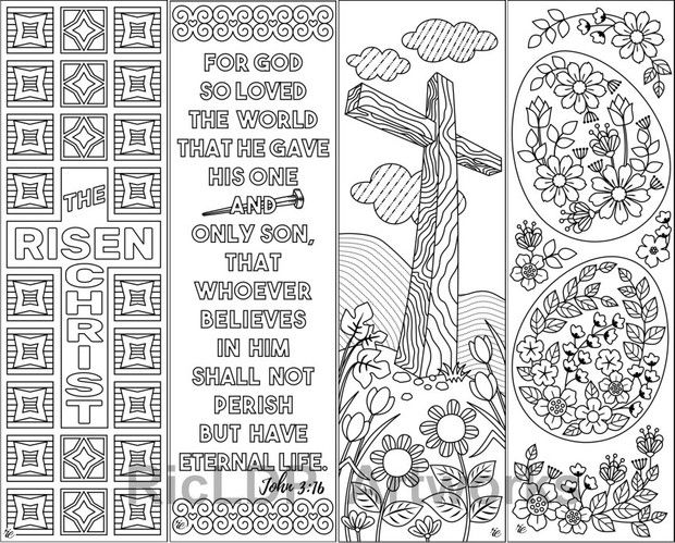 8 Easter Coloring Bookmarks Coloring Bookmarks Easter Colouring Bible Coloring Pages