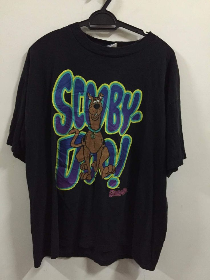 Vintage 1990s Made in Usa Scooby Doo Shaggy Cartoon Network Black short sleeve s - T-Shirts, Tank Tops