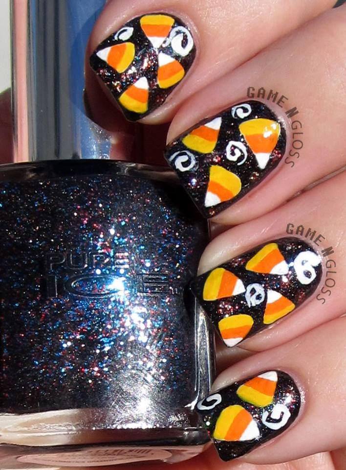 Candy Corn Halloween Nageldesign – facebook @ GAME N GLOSS.   – Nail designs