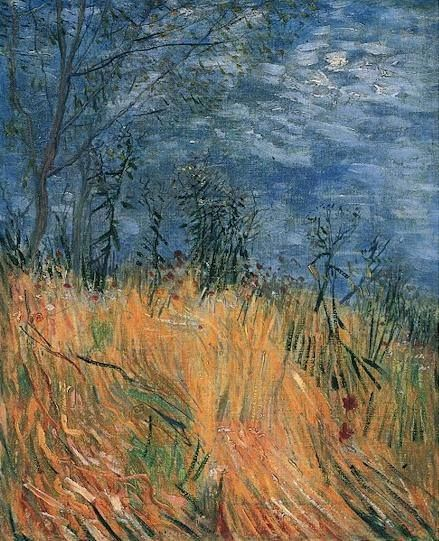 Vincent van Gogh (Dutch, Post-Impressionism, 1853-1890): Edge of a Wheatfield with Poppies, Spring 1887. Created in Paris. Oil on canvas on cardboard, 40.0 x 32.5 cm. Private Collection.