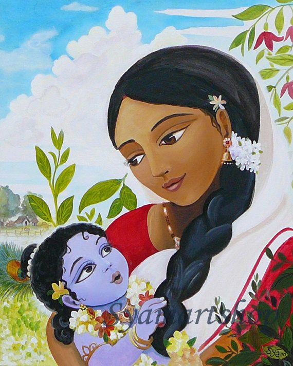 Archival print, art print, mother and child, Yasoda Krishna, devotional art, India, wall art, meditation rooms, temple rooms, painting.