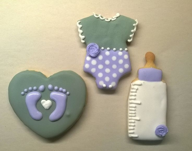 Baby shower cookies - Grey & Purple heart with baby feet, Babygrow and Baby Bottle