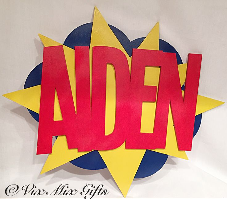 Superhero name sign, large name plaque, superhero door sign, children's bedroom decoration, personalised wall hanging, comic book sign by vixmixgifts on Etsy https://www.etsy.com/listing/513933797/superhero-name-sign-large-name-plaque