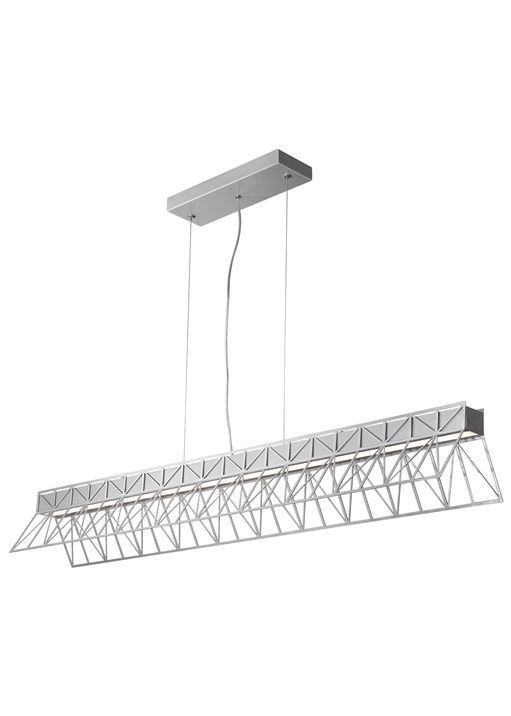 Inspired by the underlying structure and color of the world famous golden gate bridge this led powered fixture provides indirect uplight as well as
