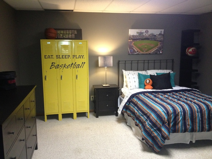 Have guests sign a set of lockers that would make awesome storage for your man cave or mud room