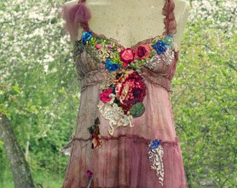 Dusty pink boho dress -- whimsy bohemian dress, embroidered, hand dyed reworked