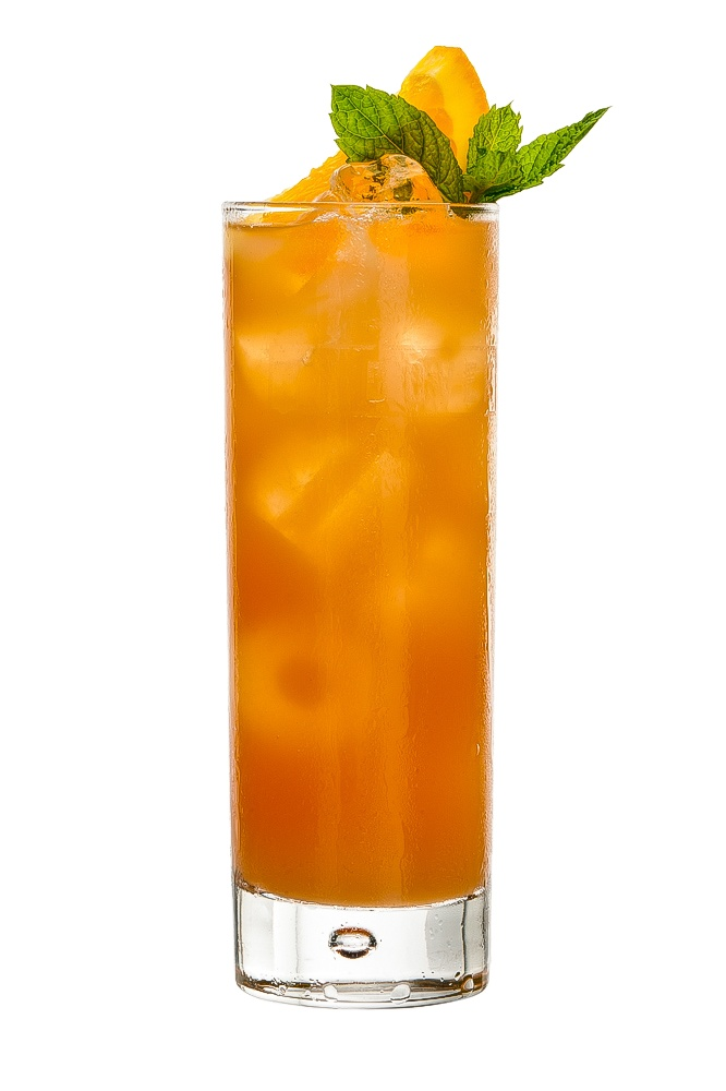 PLANTER'S PUNCH : INGREDIENTS -   1 1/2 measures Dark Jamaican rum  1 measure Freshly squeezed lime juice  1/2 sugar Syrup (sugar 2:1 water)  2 measures Chilled mineral water  3 dashes Aromatic bitters  Garnish    Orange slice   Mint sprig  INSTRUCTIONS - 1 Serve drink with all ingredients shaken with ice. 2 Strain into a glass of ice. HOW TO SERVE IT -   Serve in a Collins glass  Garnish with an orange slice and sprig of mint