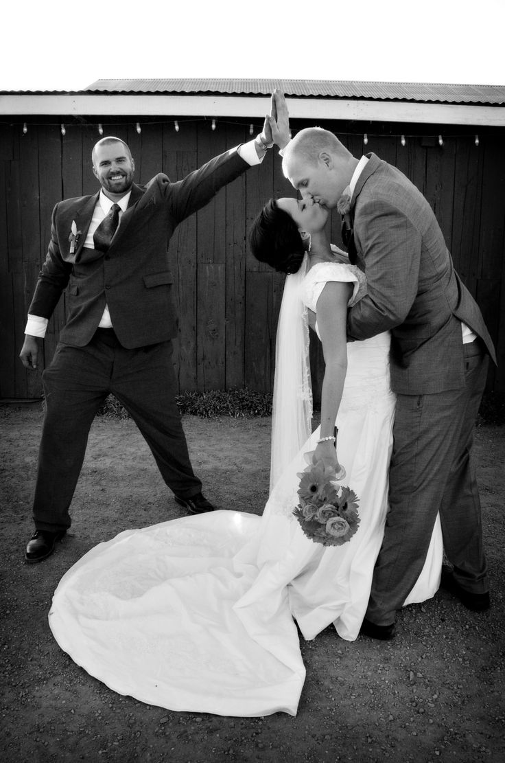 Best Man Moment Photo by Myle Collins Mylestone Photography Wedding portrait, wedding pictures, wedding pose, bride and groom with best man, best man high five