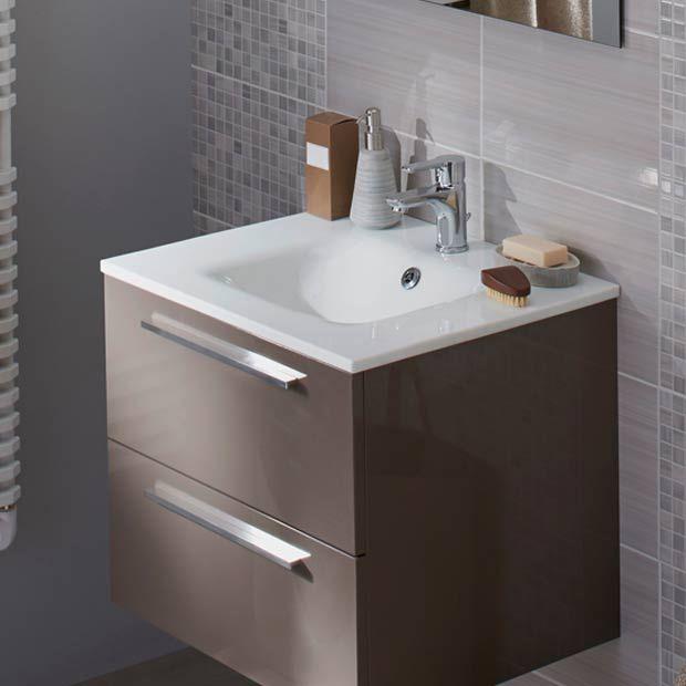 Mod le fokus l 80 cm plan vasque en verre extra blanc lapeyre idee dec - Meuble lavabo lapeyre ...