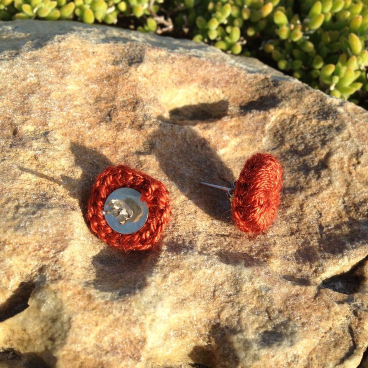 Crochet Stud Earrings in warm Burnt Orange.. click the link to get yours.. PS matching choker in the shop!