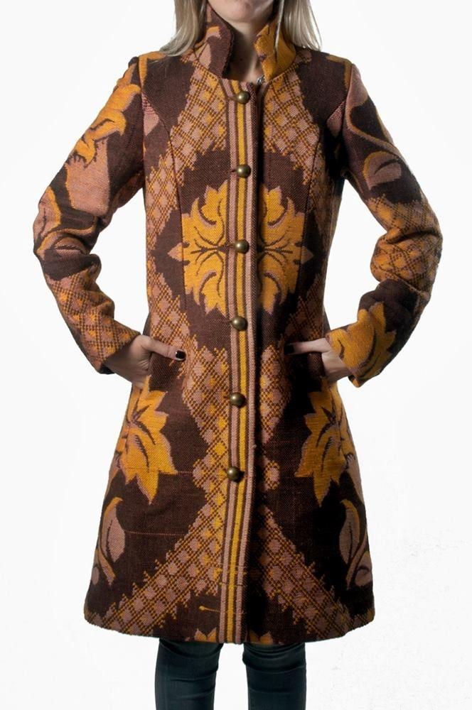 Wool Cotton Coat in Multicolor