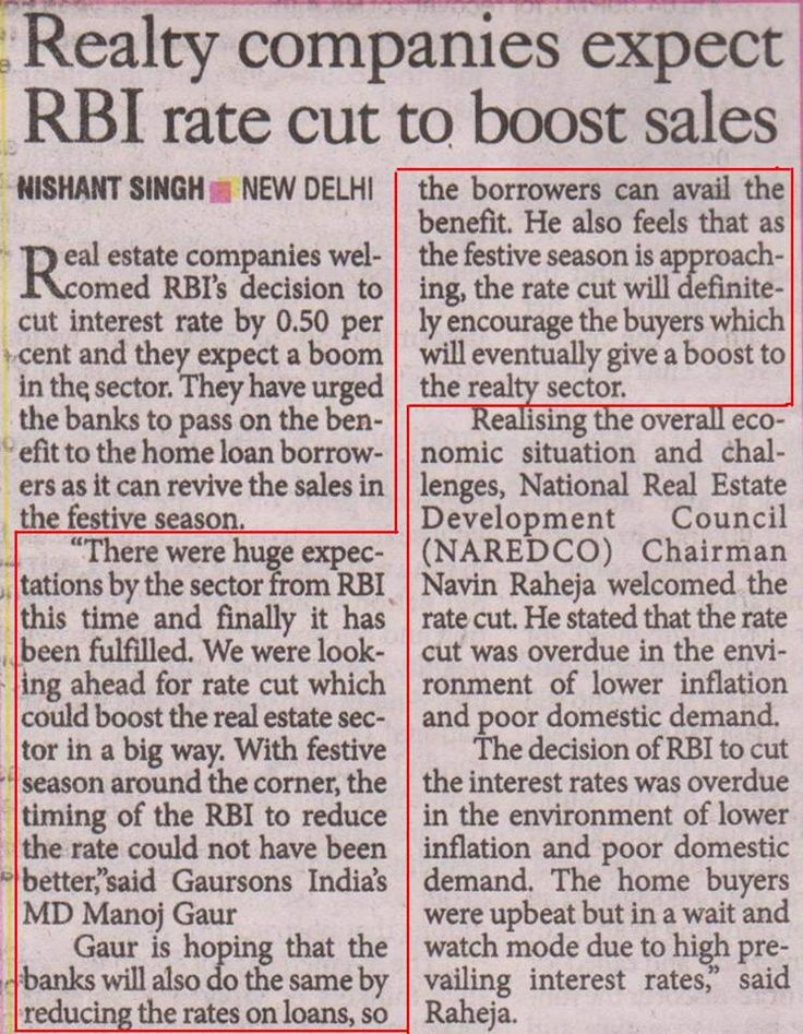 RBI's decision to cut interest rate by 0.50 percent is likely to boost Real Estate business.