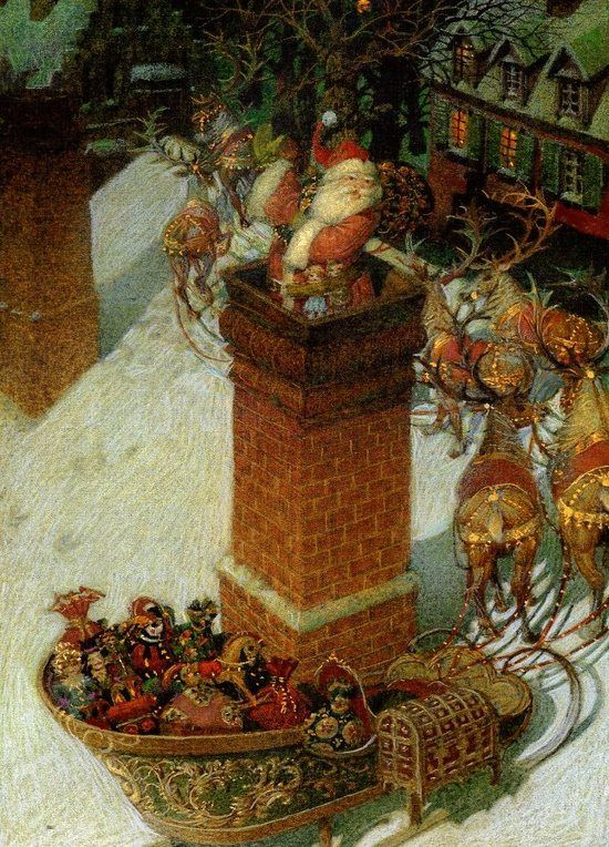 #Santa #sleigh #chimney #reindeer #rooftop #Christmas #eve #sack #toys #vintage #illustration #sled {Arthur Lyman - Rudolph, the Red-Nosed Reindeer}: