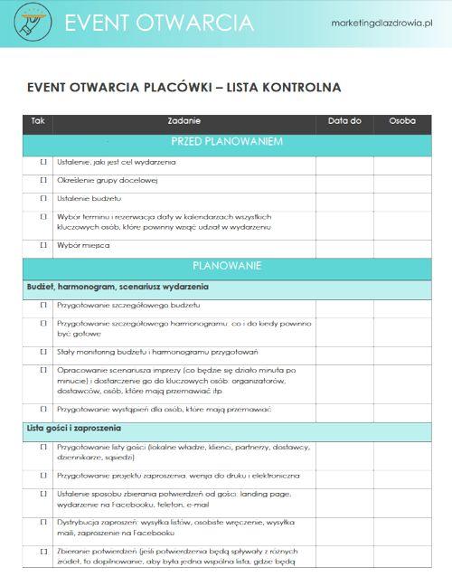 Lista kontrolna (checlista) zadań przy organizacji eventu