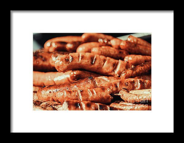 Sausages On Barbecue Grill Framed Print