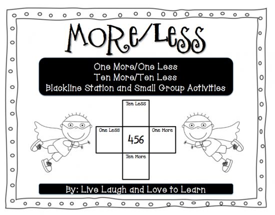 One More, One Less, Ten More, Ten Less Activities product from Live-Laugh-Love-Learn on TeachersNotebook.com