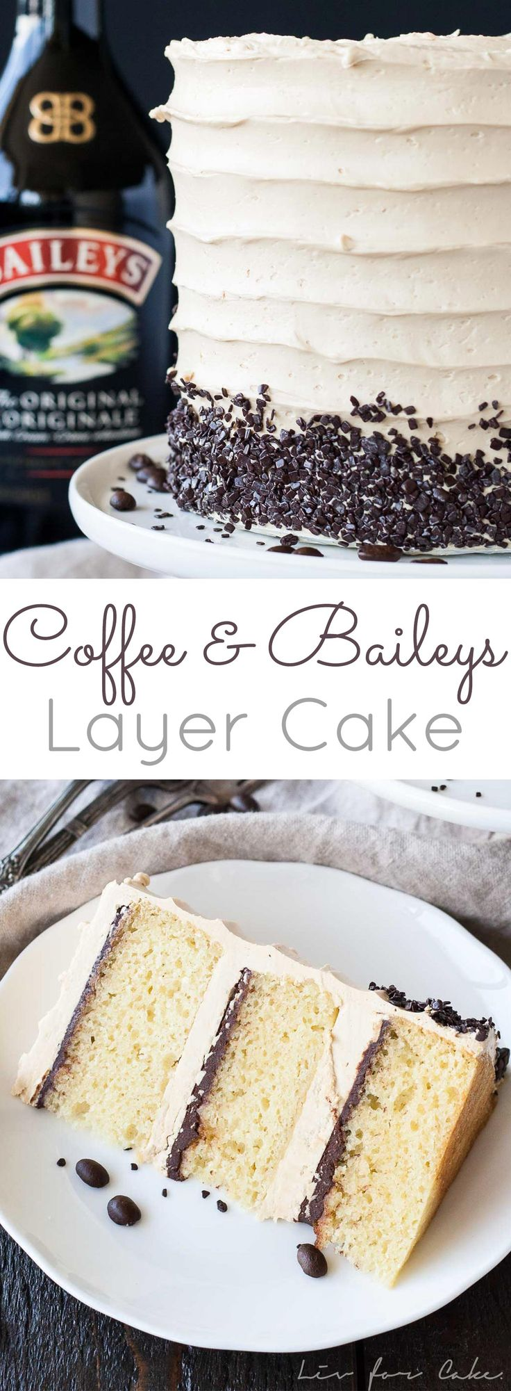The perfect pairing of coffee and Baileys in this delicious layer cake. A vanilla buttermilk cake layered with chocolate ganache and a coffee baileys swiss meringue buttercream. | livforcake.com via @livforcake