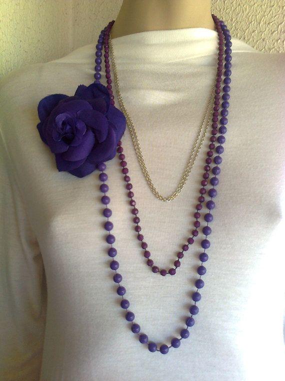 Purple handmade necklace with a big handmade by Vintageandelegant, €28.00