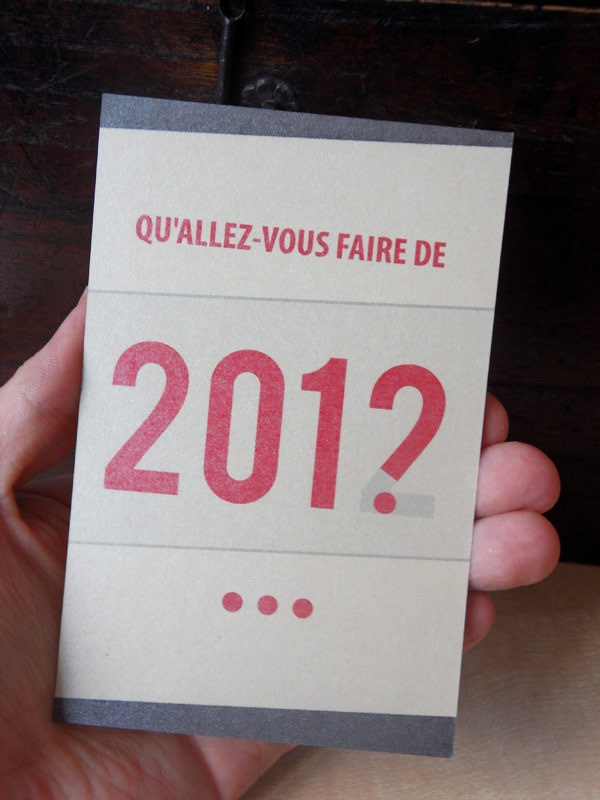 """English translation of my card : """"What will you do in 2012 ?"""""""