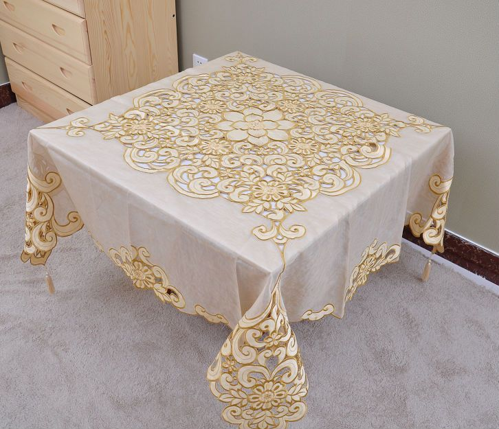 Embroidered Organza Tablecloth Cutworking Overlay