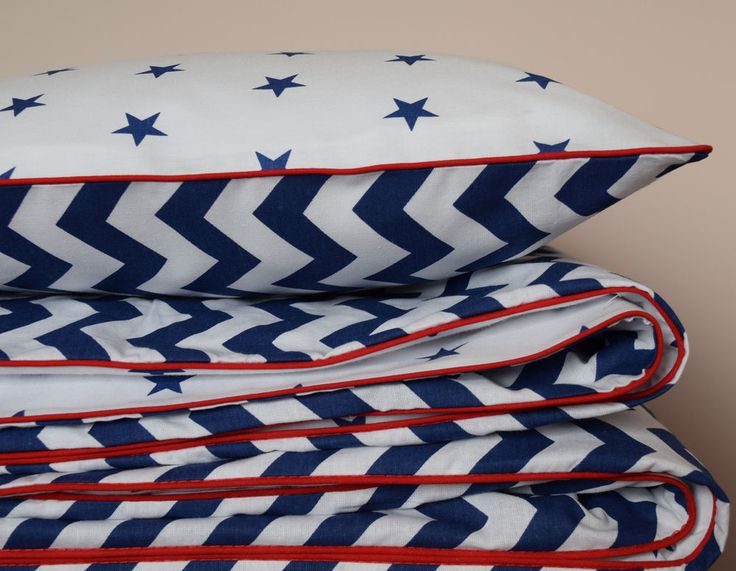 100%COTTON Cot Bed Duvet Cover Set Boys  Navy Stars  Chevron ZigZag Red piping