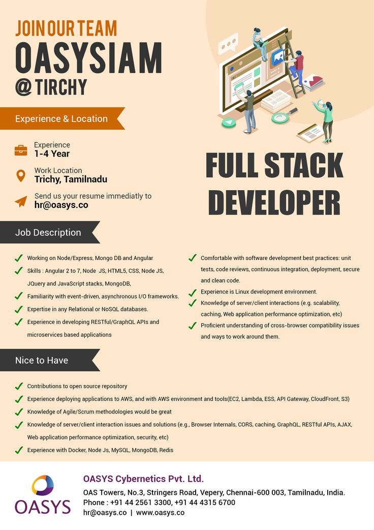 Hiring Full Stack Developer for Trichy locaion. Join our