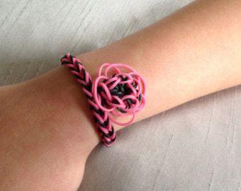 Arco iris telar pulsera - diseño espina de pescado - rosa & negro - encanto de flor hecha a mano - látex libre ha